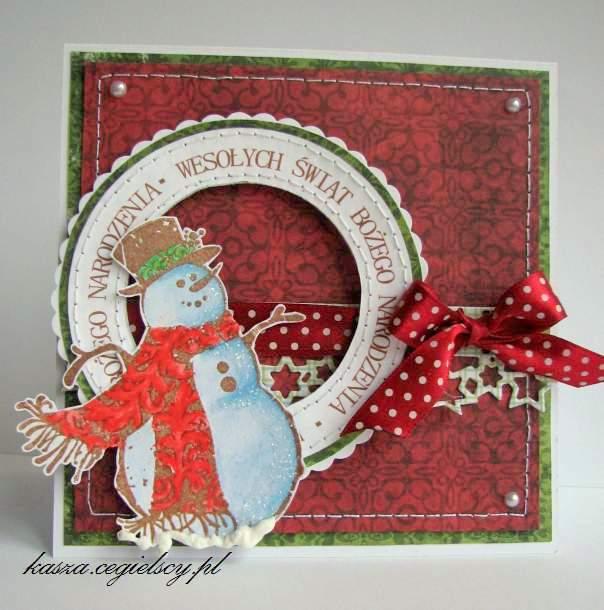recznie robiona kartka bożonarodzeniowa
