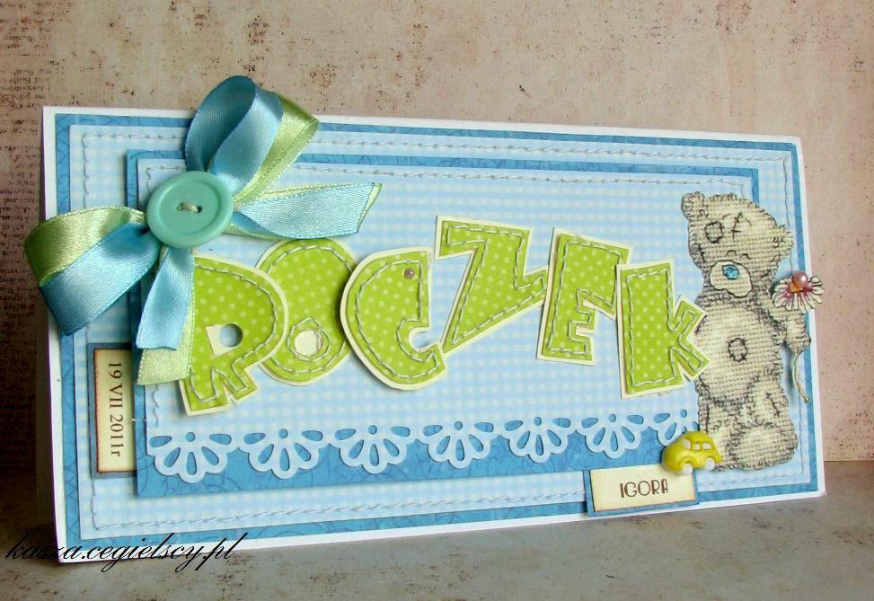 ręcznie robiona kartka pierwsze urodziny