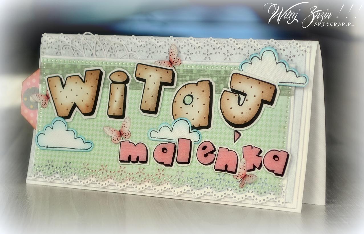 Ręcznie robiona kartka dla dziewczynki, urodziny, narodziny